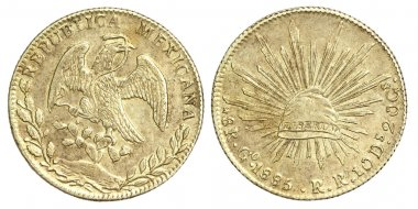 Old Coin of Mexican 8 Reales 1885