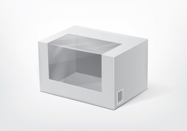 Cardboard box with a transparent plastic window