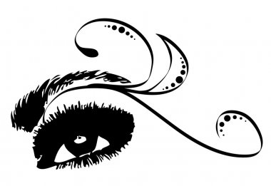 Beautiful female eye with lashes, decorative elements and eyeshadow clip art vector