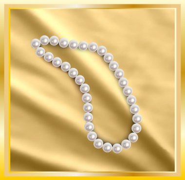 Pearls a necklace on a silk gold fabric. Vector