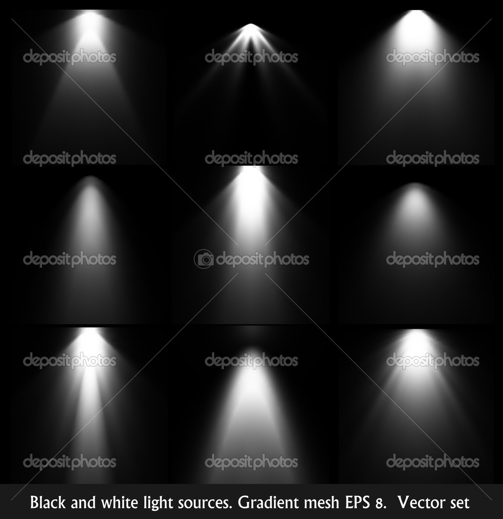 Black and white light sources. Vector set
