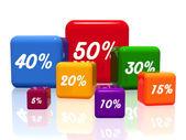různá procenta v barvě