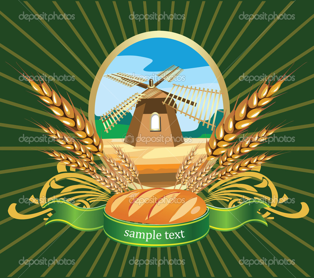 Vector illustration of bread wheat Label