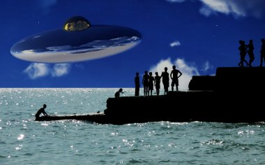 UFO Over The Coast With In Foreground