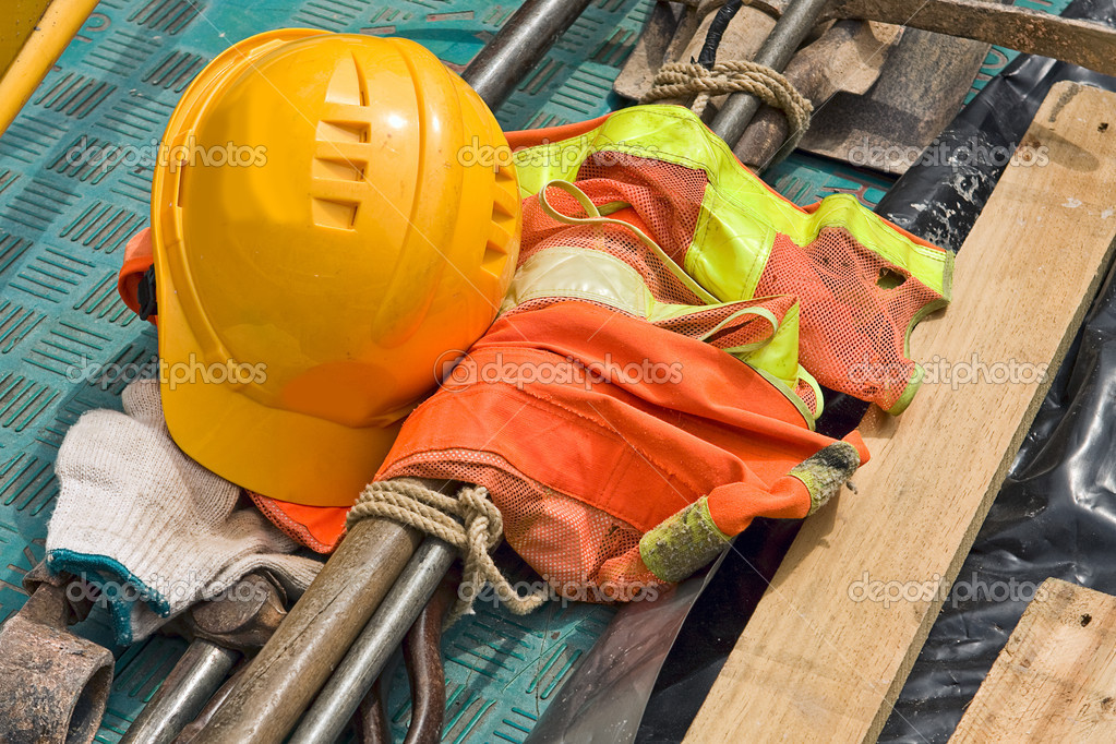 Construction worker supplies close up