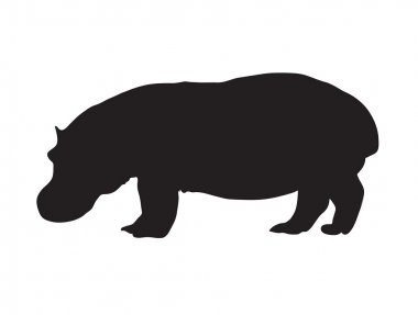 Abstract black silhouette of a hippopotamus.
