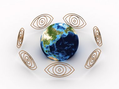 All Seeing Eyes around earth. 3D