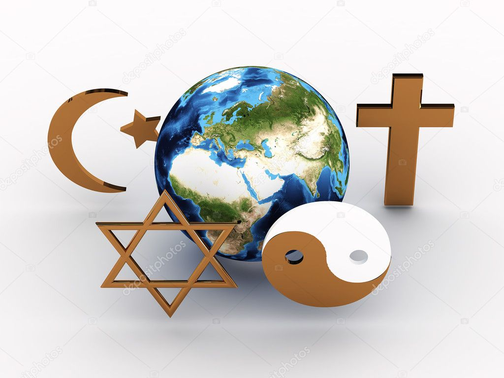 Religious symbols of our planet. 3D image
