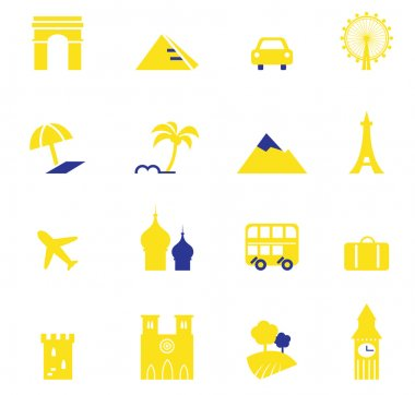Travel, vacation & landmarks icons collection.