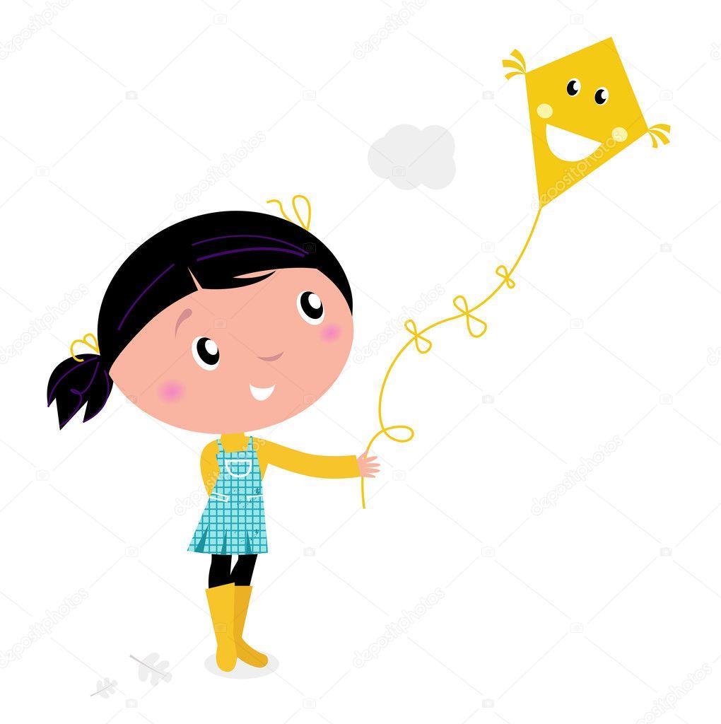 Little cute girl Flying Kite isolated on white