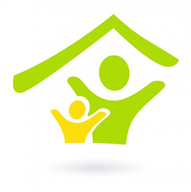 Abstract real estate, family or charity icon.
