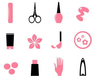 Manicure, cosmetics and beauty icons