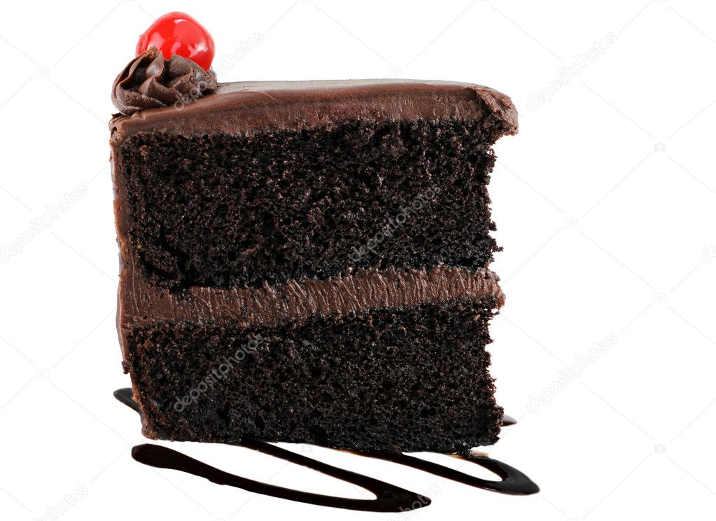 Chocolate cake with chocolate icing and a cherry.