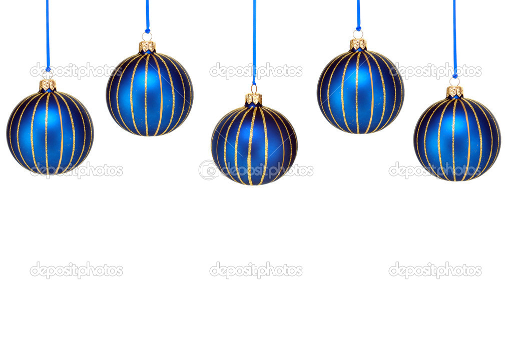 Top Border Of Blue Christmas Ornaments On White Stock Photo