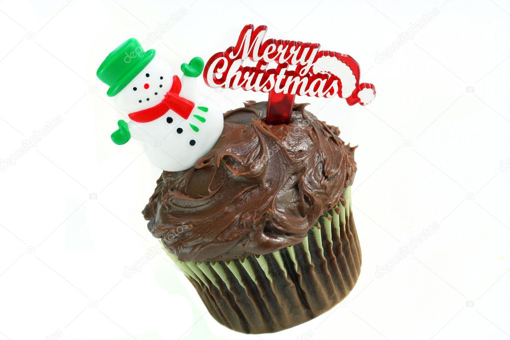 Christmas Chocolate Cupcake with Snowman on White.