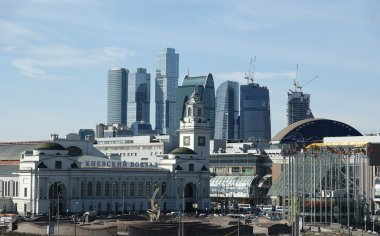Kievsky train station and international business centre as seen from the Mo