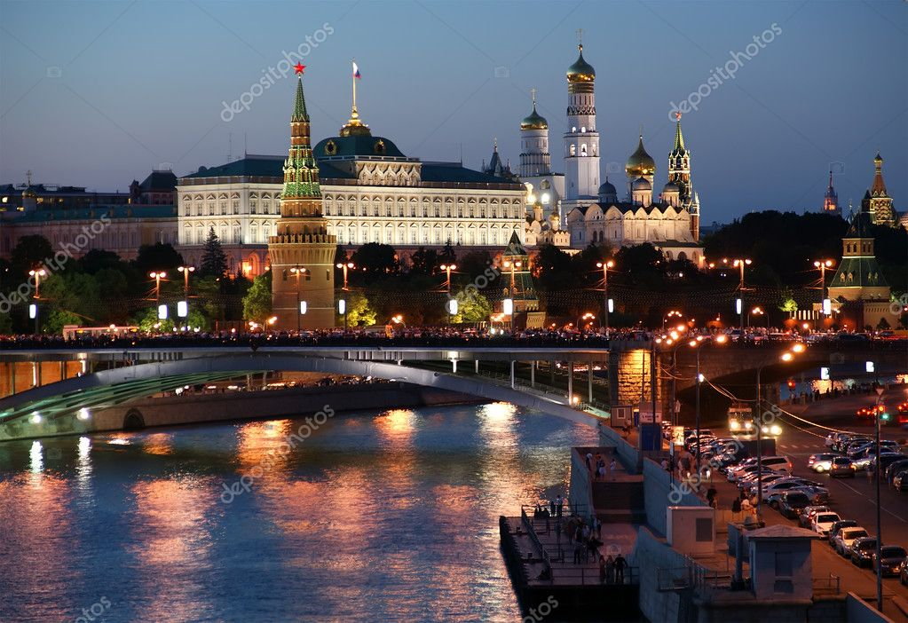 Russia, Moscow, night view of the Moskva River, Bridge and the K