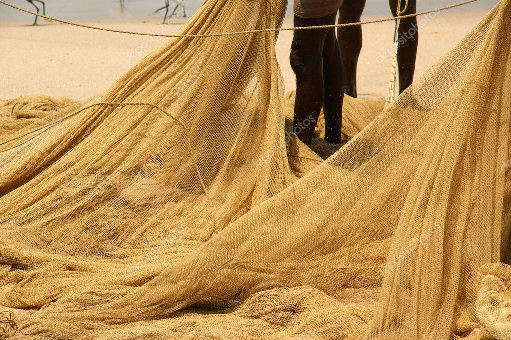 Fishing net on the ocean. Kovalam, Kerala, South India