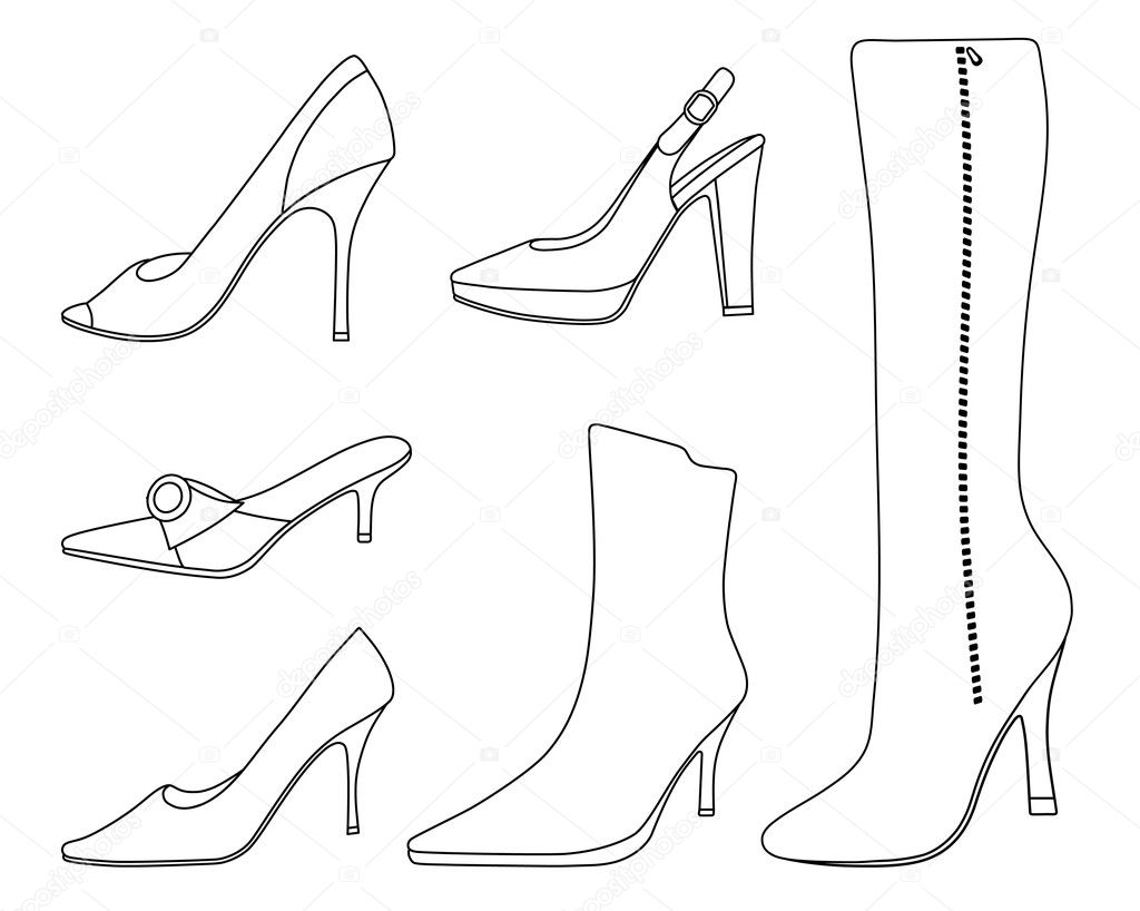 Luxury Drawn Heels Vintage Shoe - Pencil And In Color Drawn Heels Vintage Shoe