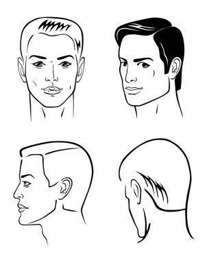 Four man outline faces