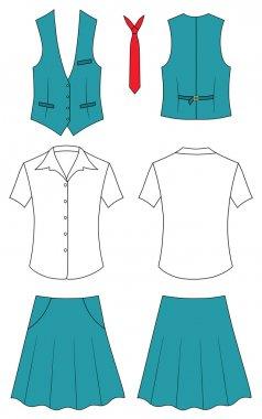 Woman cashier or seller clothes