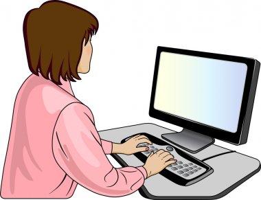 Woman-programmer near a computer