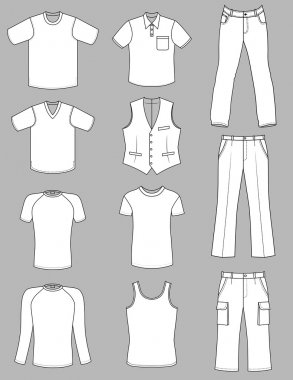 Man clothes summer greyscale collection isolated on white
