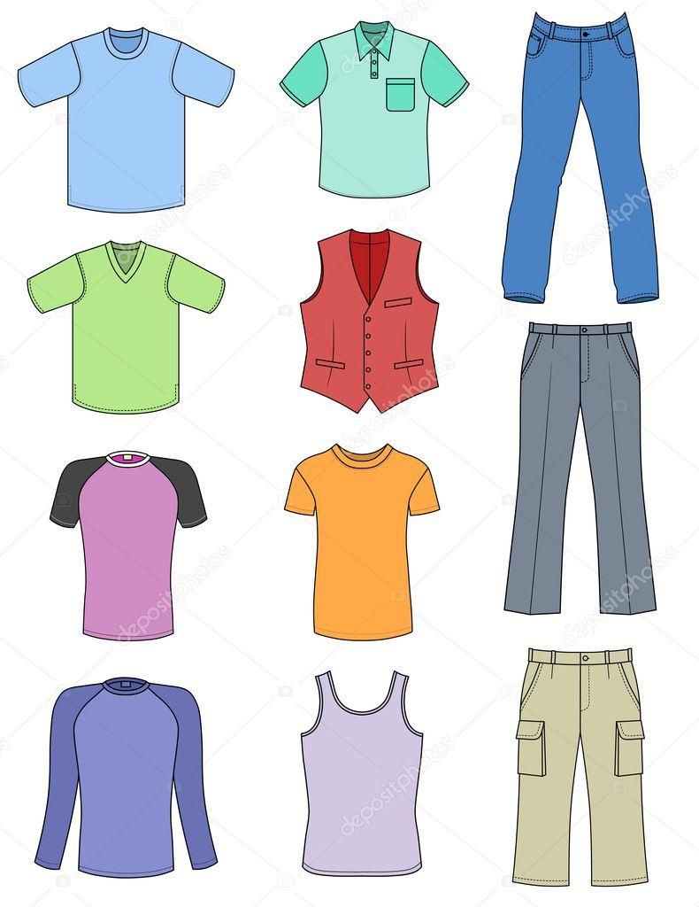 9876a9f0e2 Colección de verano de ropa de hombre aislado en blanco — Vector de ...