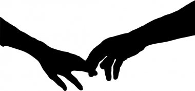 Vector silhouette of holding hands