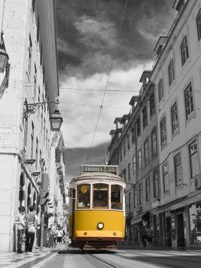 Tram in the center of Lisbon.
