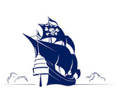 Retro Piratenschiff mit Skull  Bones-flag