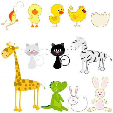 Set of cute and funny animals