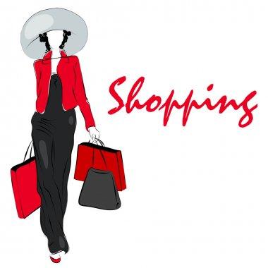 Elegant shopping girl