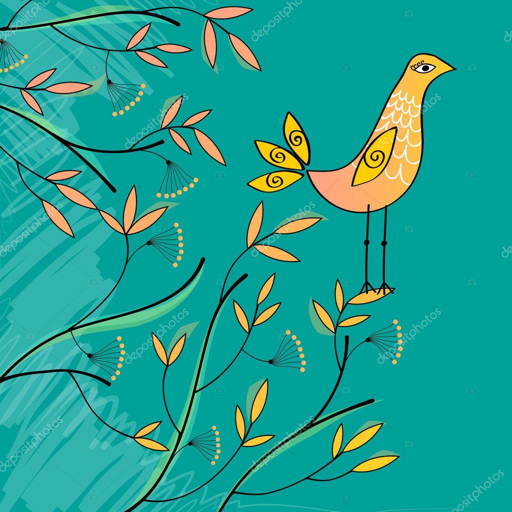 Tatlı Yaz Kuş çizimi Stok Vektör Glyphstudio 7091666