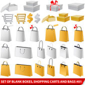 Set of blank shopping bags, carts and giftboxes