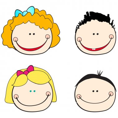Vector set of hand drawn style cute kid faces illustration stock vector