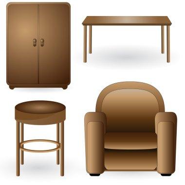 Set of modern, elegant, detailed furniture icons