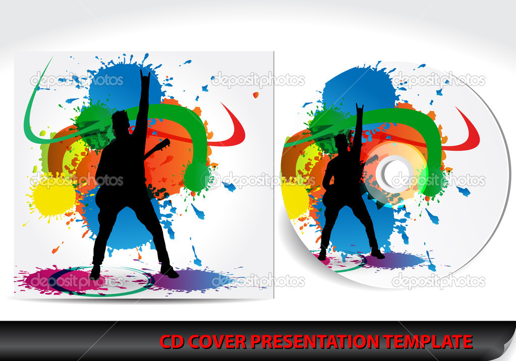 music themed cd cover presentation template — stock vector, Presentation templates