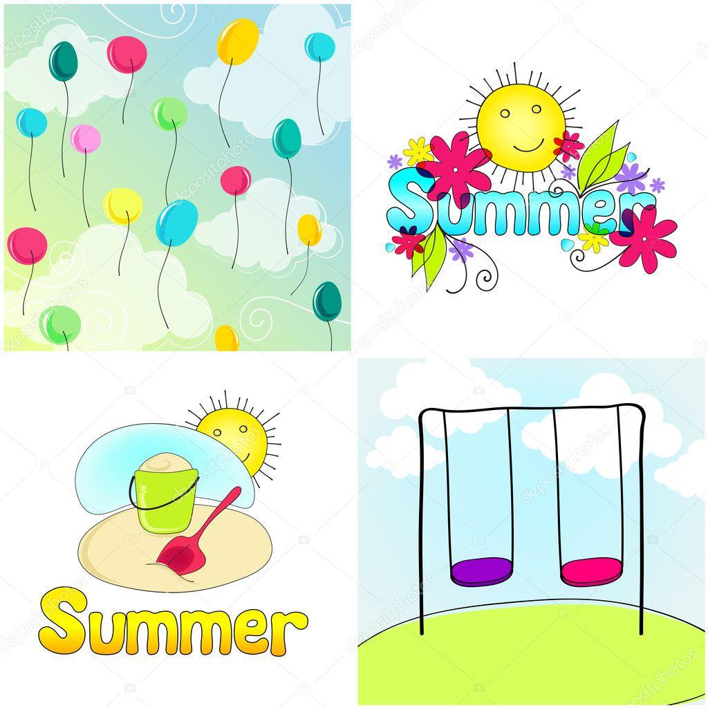 かわいい夏イラスト — ストックベクター © glyph_studio #7325783