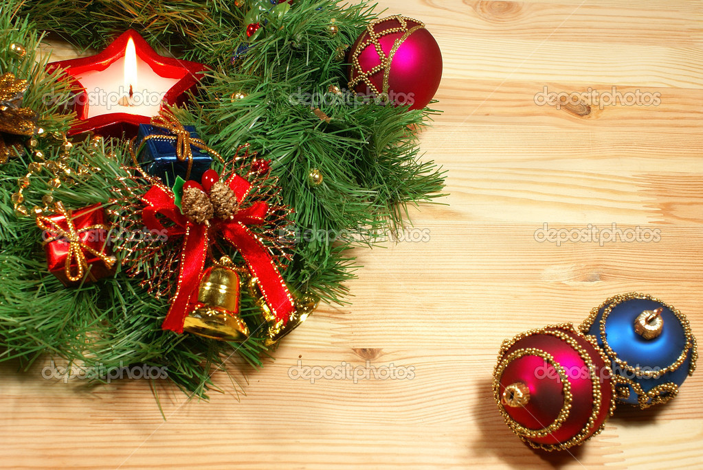 Nice Xmas decorations: red and blue spheres, golden bells, red ...