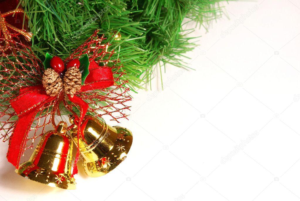 Bonita campanas doradas con cinta roja y verde navidad - Cinta arbol navidad ...