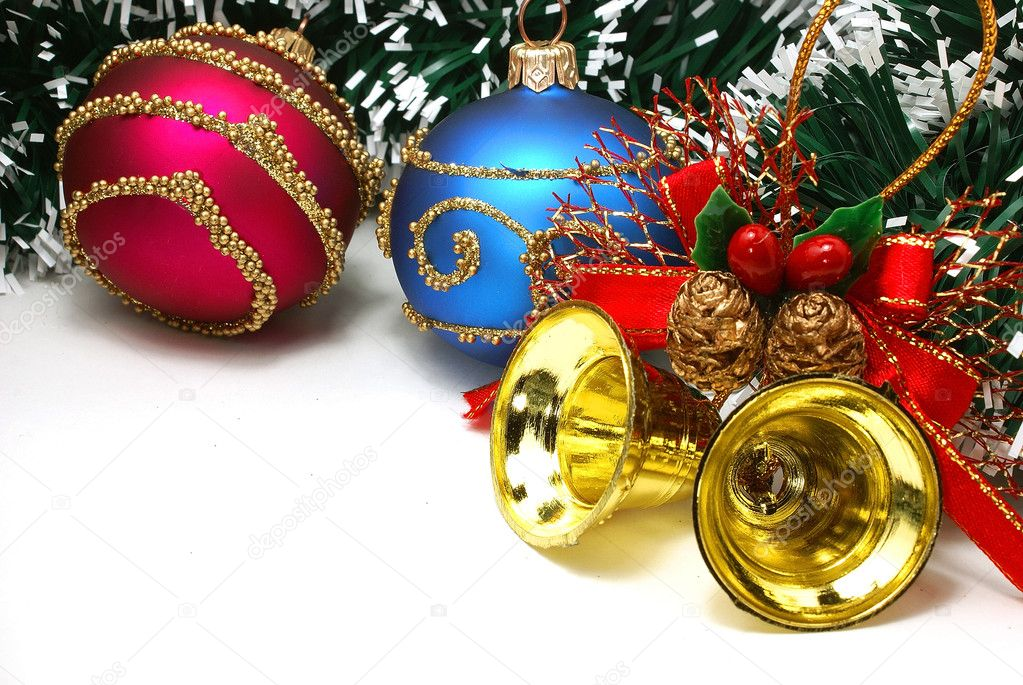 Nice Xmas decorations: red and blue spheres, golden bells and ...