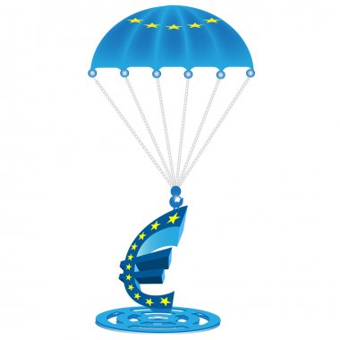 Parachute with the European flag on it holding a Euro.Vector