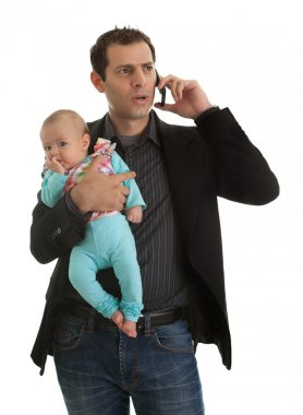 Businesman with his baby girl