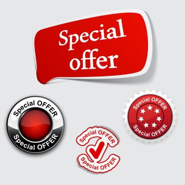 Red set of Special offer labels.