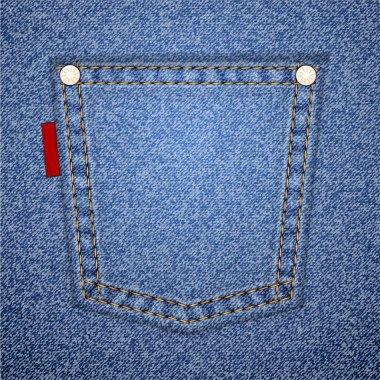 Denim pocket with tag.