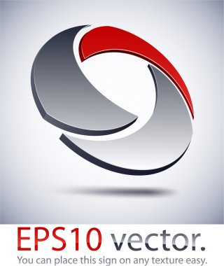 3D modern technology logo icon.