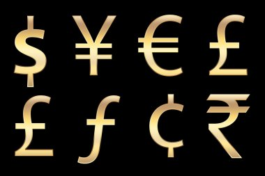 Currencies symbols in gold