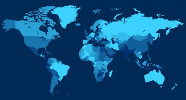 World map with countries on blue background