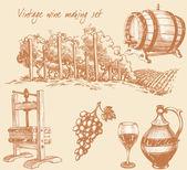 Fotografia vino dannata e set di vinificazione